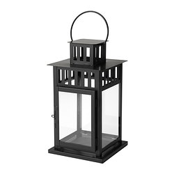 BORRBY, Lantern for block candle, black indoor/outdoor black