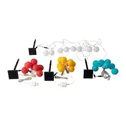 SOLVINDEN solar-powered lighting chain, 8, white globe assorted colours white Cord lenght between lights: 48 cm Cord length from solar panel: 4 m Total length: 7.36 m
