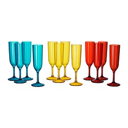 SOMMARFINT champagne glass, assorted colours Volume: 18 cl Package quantity: 4 pack