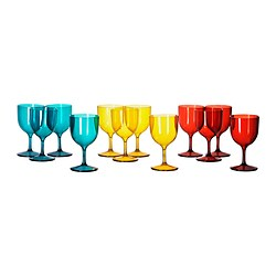 SOMMARFINT red wine glass, assorted colours Volume: 28 cl Package quantity: 4 pieces