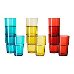 VAKEN glass, assorted colours Height: 14 cm Volume: 50 cl Package quantity: 4 pieces