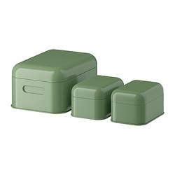 SNIKA box with lid, set of 3, green