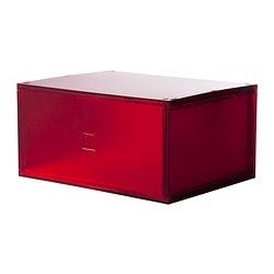 LEKMAN mini chest of drawers, red Width: 33 cm Depth: 25 cm Height: 17 cm