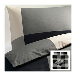 BRUNKRISSLA quilt cover and 4 pillowcases, grey, black Quilt cover length: 220 cm Quilt cover width: 240 cm Pillowcase length: 50 cm