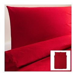 "DVALA duvet cover and pillowcase(s), red Duvet cover length: 86 "" Duvet cover width: 86 "" Pillowcase length: 20 "" Duvet cover length: 218 cm Duvet cover width: 218 cm Pillowcase length: 51 cm"