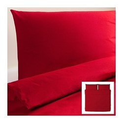 "DVALA duvet cover and pillowcase(s), red Duvet cover length: 86 "" Duvet cover width: 102 "" Pillowcase length: 20 "" Duvet cover length: 218 cm Duvet cover width: 259 cm Pillowcase length: 51 cm"