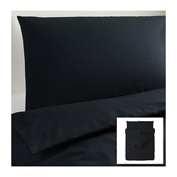DVALA quilt cover and 4 pillowcases, black Quilt cover length: 200 cm Quilt cover width: 200 cm Pillowcase length: 50 cm