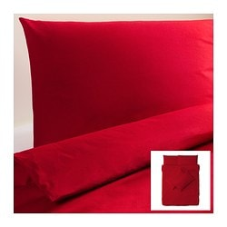 DVALA quilt cover and 4 pillowcases, red Quilt cover length: 200 cm Quilt cover width: 200 cm Pillowcase length: 50 cm