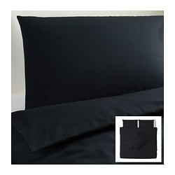 DVALA quilt cover and 4 pillowcases, black Quilt cover length: 220 cm Quilt cover width: 240 cm Pillowcase length: 50 cm