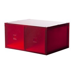 LEKMAN mini chest with 2 drawers, red Width: 33 cm Depth: 25 cm Height: 17 cm