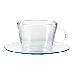 GÄLL cup with saucer, clear glass Saucer diameter: 14.5 cm Total height: 7 cm Cup height: 6.5 cm
