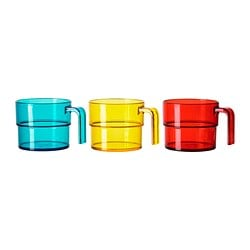 "SOMMARFINT mug, assorted colors Height: 3 "" Volume: 10 oz Package quantity: 4 pack Height: 7.5 cm Volume: 31 cl Package quantity: 4 pack"