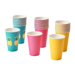 SOMMARFINT disposable mug, turquoise, yellow/pink Volume: 35 cl Package quantity: 10 pieces
