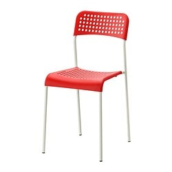 ADDE chair, white, red Tested for: 110 kg Width: 39 cm Depth: 47 cm