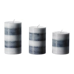 RANDIG scented block candle, set of 3, grey