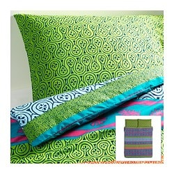 "LAPPLJUNG duvet cover and pillowcase(s), multicolor Duvet cover length: 86 "" Duvet cover width: 86 "" Pillowcase length: 20 "" Duvet cover length: 218 cm Duvet cover width: 218 cm Pillowcase length: 51 cm"
