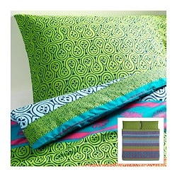 "LAPPLJUNG duvet cover and pillowcase(s), multicolor Duvet cover length: 86 "" Duvet cover width: 102 "" Pillowcase length: 20 "" Duvet cover length: 218 cm Duvet cover width: 259 cm Pillowcase length: 51 cm"