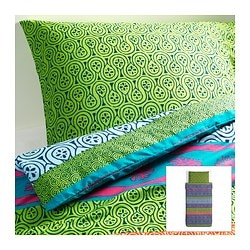 "LAPPLJUNG duvet cover and pillowcase(s), multicolor Duvet cover length: 86 "" Duvet cover width: 64 "" Pillowcase length: 20 "" Duvet cover length: 218 cm Duvet cover width: 162 cm Pillowcase length: 51 cm"