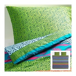 LAPPLJUNG quilt cover and 2 pillowcases, multicolour Quilt cover length: 220 cm Quilt cover width: 240 cm Pillowcase length: 50 cm