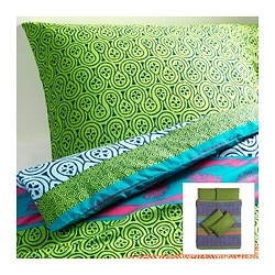 LAPPLJUNG quilt cover and 4 pillowcases, multicolour Quilt cover length: 200 cm Quilt cover width: 200 cm Pillowcase length: 50 cm