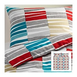 "LAPPLJUNG RAND duvet cover and pillowcase(s), multicolor Duvet cover length: 86 "" Duvet cover width: 102 "" Pillowcase length: 20 "" Duvet cover length: 218 cm Duvet cover width: 259 cm Pillowcase length: 51 cm"