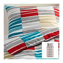 "LAPPLJUNG RAND duvet cover and pillowcase(s), multicolor Duvet cover length: 86 "" Duvet cover width: 64 "" Pillowcase length: 20 "" Duvet cover length: 218 cm Duvet cover width: 162 cm Pillowcase length: 51 cm"