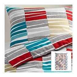 LAPPLJUNG RAND quilt cover and 4 pillowcases, multicolour Quilt cover length: 200 cm Quilt cover width: 200 cm Pillowcase length: 50 cm