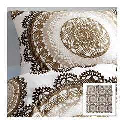"LYCKOAX duvet cover and pillowcase(s), brown, white Duvet cover length: 86 "" Duvet cover width: 102 "" Pillowcase length: 20 "" Duvet cover length: 218 cm Duvet cover width: 259 cm Pillowcase length: 51 cm"