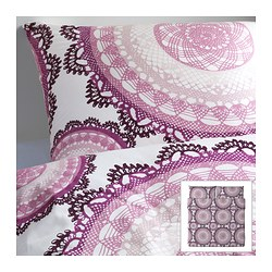 "LYCKOAX duvet cover and pillowcase(s), lilac, white Duvet cover length: 86 "" Duvet cover width: 102 "" Pillowcase length: 20 "" Duvet cover length: 218 cm Duvet cover width: 259 cm Pillowcase length: 51 cm"