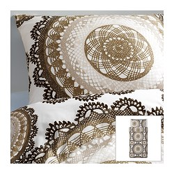 "LYCKOAX duvet cover and pillowcase(s), brown, white Duvet cover length: 86 "" Duvet cover width: 64 "" Pillowcase length: 20 "" Duvet cover length: 218 cm Duvet cover width: 162 cm Pillowcase length: 51 cm"