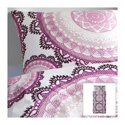 "LYCKOAX duvet cover and pillowcase(s), lilac, white Duvet cover length: 86 "" Duvet cover width: 64 "" Pillowcase length: 20 "" Duvet cover length: 218 cm Duvet cover width: 162 cm Pillowcase length: 51 cm"