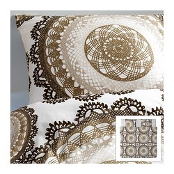 LYCKOAX quilt cover and 2 pillowcases, brown, white Quilt cover length: 220 cm Quilt cover width: 240 cm Pillowcase length: 50 cm
