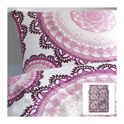LYCKOAX quilt cover and 4 pillowcases, lilac, white Quilt cover length: 200 cm Quilt cover width: 200 cm Pillowcase length: 50 cm