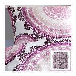 LYCKOAX quilt cover and 4 pillowcases, lilac, white Quilt cover length: 220 cm Quilt cover width: 240 cm Pillowcase length: 50 cm