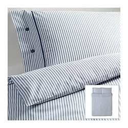 "NYPONROS duvet cover and pillowcase(s), white/blue Duvet cover length: 86 "" Duvet cover width: 86 "" Pillowcase length: 20 "" Duvet cover length: 218 cm Duvet cover width: 218 cm Pillowcase length: 51 cm"
