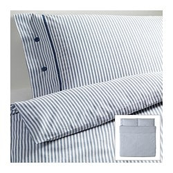 "NYPONROS duvet cover and pillowcase(s), white/blue Duvet cover length: 86 "" Duvet cover width: 102 "" Pillowcase length: 20 "" Duvet cover length: 218 cm Duvet cover width: 259 cm Pillowcase length: 51 cm"