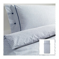 "NYPONROS duvet cover and pillowcase(s), white/blue Duvet cover length: 86 "" Duvet cover width: 64 "" Pillowcase length: 20 "" Duvet cover length: 218 cm Duvet cover width: 162 cm Pillowcase length: 51 cm"