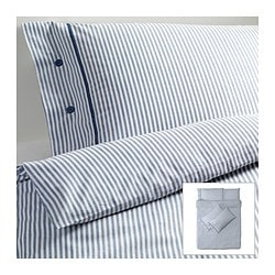 NYPONROS quilt cover and 4 pillowcases, white/blue Quilt cover length: 200 cm Quilt cover width: 200 cm Pillowcase length: 50 cm