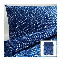 "SMÖRBOLL duvet cover and pillowcase(s), blue Duvet cover length: 86 "" Duvet cover width: 86 "" Pillowcase length: 20 "" Duvet cover length: 218 cm Duvet cover width: 218 cm Pillowcase length: 51 cm"