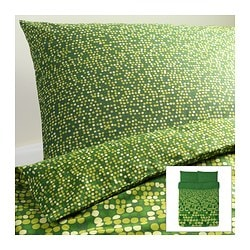 "SMÖRBOLL duvet cover and pillowcase(s), green Duvet cover length: 86 "" Duvet cover width: 86 "" Pillowcase length: 20 "" Duvet cover length: 218 cm Duvet cover width: 218 cm Pillowcase length: 51 cm"