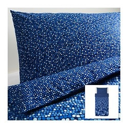 "SMÖRBOLL duvet cover and pillowcase(s), blue Duvet cover length: 86 "" Duvet cover width: 64 "" Pillowcase length: 20 "" Duvet cover length: 218 cm Duvet cover width: 162 cm Pillowcase length: 51 cm"