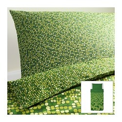 "SMÖRBOLL duvet cover and pillowcase(s), green Duvet cover length: 86 "" Duvet cover width: 64 "" Pillowcase length: 20 "" Duvet cover length: 218 cm Duvet cover width: 162 cm Pillowcase length: 51 cm"