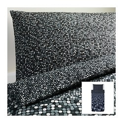 "SMÖRBOLL duvet cover and pillowcase(s), gray Duvet cover length: 86 "" Duvet cover width: 64 "" Pillowcase length: 20 "" Duvet cover length: 218 cm Duvet cover width: 162 cm Pillowcase length: 51 cm"