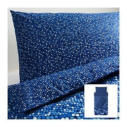 SMÖRBOLL quilt cover and 2 pillowcases, blue Quilt cover length: 200 cm Quilt cover width: 150 cm Pillowcase length: 50 cm