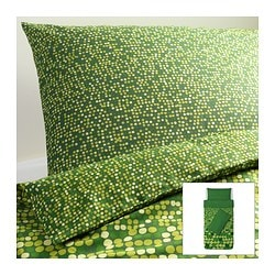 SMÖRBOLL quilt cover and 2 pillowcases, green Quilt cover length: 200 cm Quilt cover width: 150 cm Pillowcase length: 50 cm