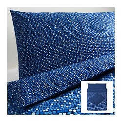 SMÖRBOLL quilt cover and 4 pillowcases, blue Quilt cover length: 200 cm Quilt cover width: 200 cm Pillowcase length: 50 cm