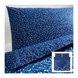SMÖRBOLL quilt cover and 4 pillowcases, blue Quilt cover length: 220 cm Quilt cover width: 240 cm Pillowcase length: 50 cm