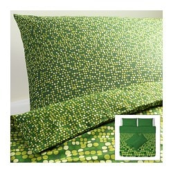 SMÖRBOLL quilt cover and 4 pillowcases, green Quilt cover length: 220 cm Quilt cover width: 240 cm Pillowcase length: 50 cm
