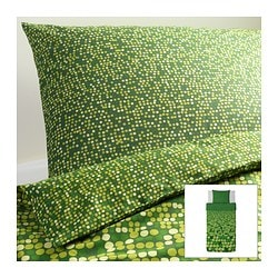 SMÖRBOLL quilt cover and pillowcase, green Quilt cover length: 200 cm Quilt cover width: 150 cm Pillowcase length: 50 cm