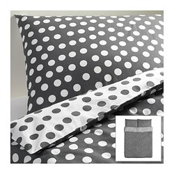 "STENKLÖVER duvet cover and pillowcase(s), gray, white Duvet cover length: 86 "" Duvet cover width: 86 "" Pillowcase length: 20 "" Duvet cover length: 218 cm Duvet cover width: 218 cm Pillowcase length: 51 cm"